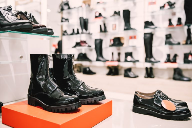Close View Of Fashion Casual Female Black Dress Boots In Store O
