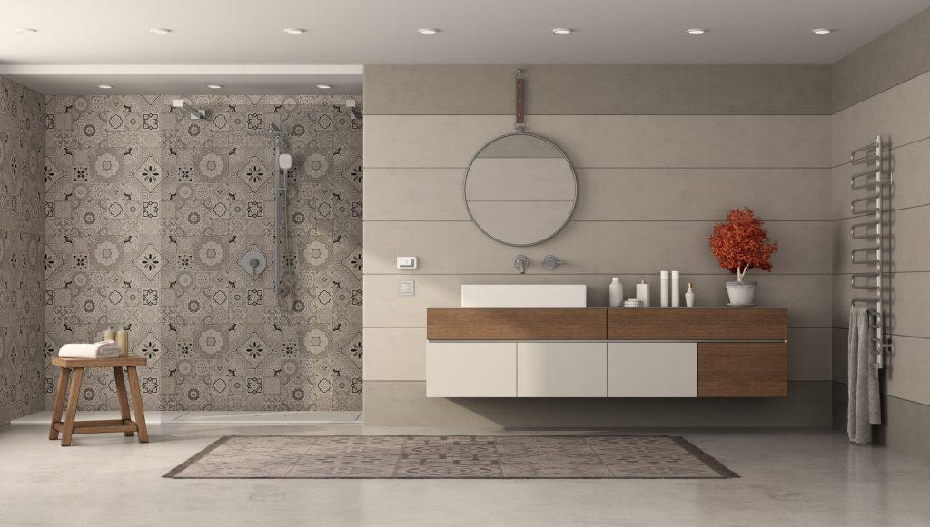 Reforma Baño moderno con ducha y lavabo